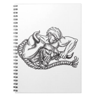 Man Pulling Bull By Horns Tattoo Notebook