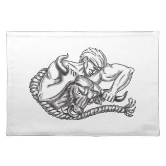 Man Pulling Bull By Horns Tattoo Placemat