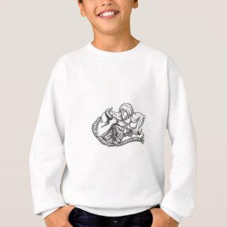 Man Pulling Bull By Horns Tattoo Sweatshirt