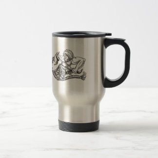 Man Pulling Bull By Horns Tattoo Travel Mug