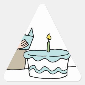 Man reading birthday card triangle sticker