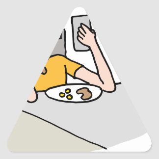 Man reading his phone while eating triangle sticker