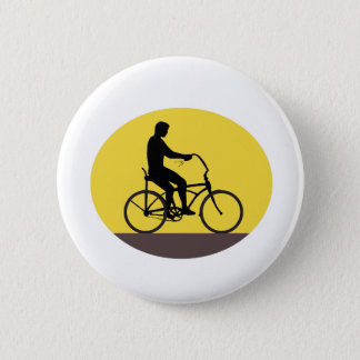 Man Riding Easy Rider Bicycle Silhouette Oval Retr 2 Inch Round Button