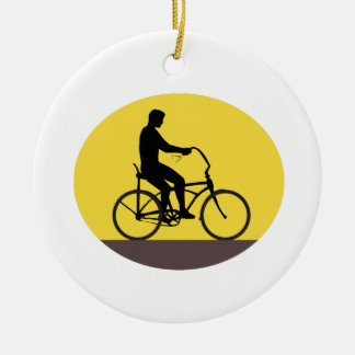 Man Riding Easy Rider Bicycle Silhouette Oval Retr Ceramic Ornament