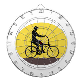 Man Riding Easy Rider Bicycle Silhouette Oval Retr Dartboard