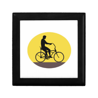 Man Riding Easy Rider Bicycle Silhouette Oval Retr Gift Box