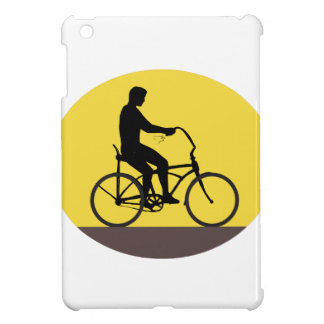 Man Riding Easy Rider Bicycle Silhouette Oval Retr iPad Mini Case