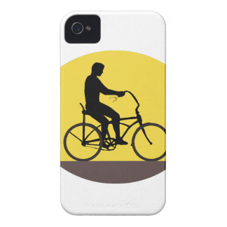 Man Riding Easy Rider Bicycle Silhouette Oval Retr iPhone 4 Cover