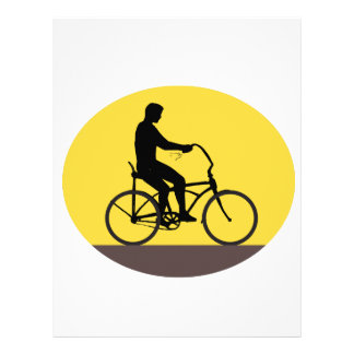 Man Riding Easy Rider Bicycle Silhouette Oval Retr Letterhead