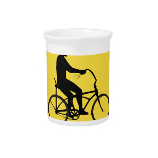 Man Riding Easy Rider Bicycle Silhouette Oval Retr Pitcher