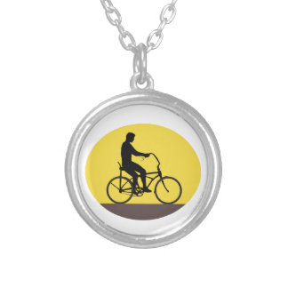 Man Riding Easy Rider Bicycle Silhouette Oval Retr Silver Plated Necklace