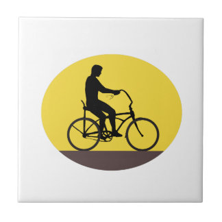 Man Riding Easy Rider Bicycle Silhouette Oval Retr Tile