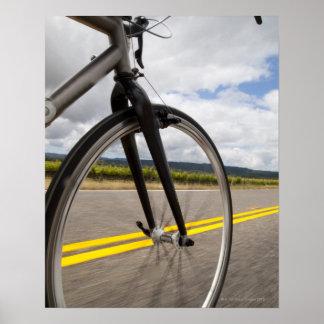 Man road biking at high speed POV Poster