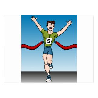 Man Runner Winning Race Cartoon Postcard