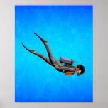 Man SCUBA Diving Poster
