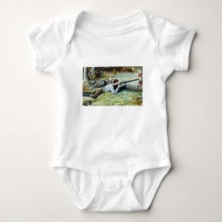 man shoot over a log baby bodysuit