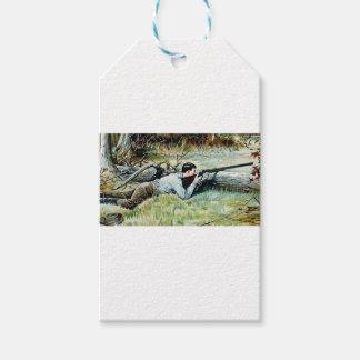 man shoot over a log gift tags