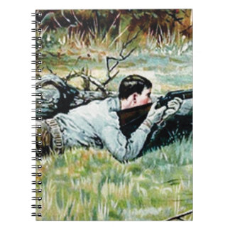 man shoot over a log notebook