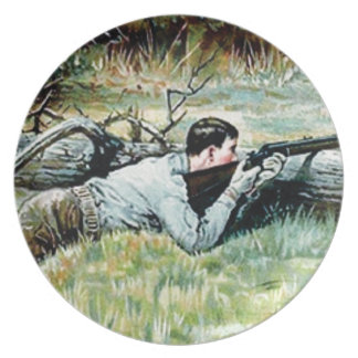 man shoot over a log plate