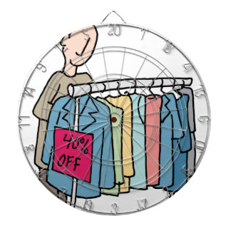 Man shopping for clothes dart board