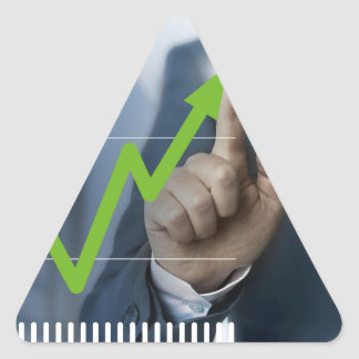 Man showing stock price touchscreen concept triangle sticker