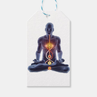 Man silhouette in enlightened yoga meditation pose gift tags