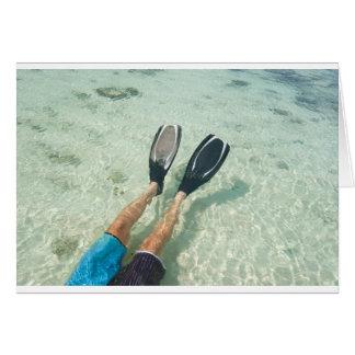 Man snorkeling in clear water card