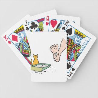 Man stepping in dirty kitty litter box poker deck
