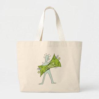 Man Stretching Dollar Cartoon Jumbo Tote Bag