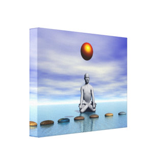 man sun and steps planets canvas print