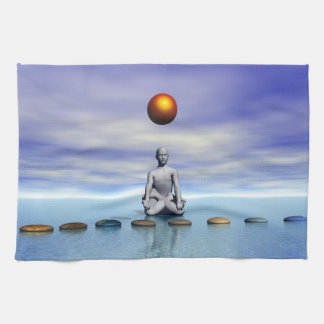 man sun and steps planets kitchen towel