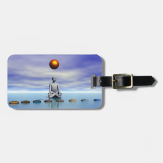 man sun and steps planets luggage tag