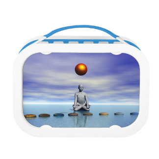man sun and steps planets lunch box