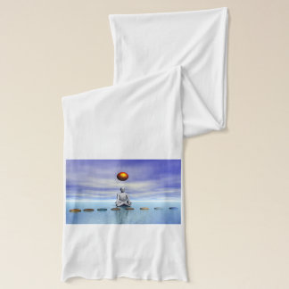 man sun and steps planets scarf