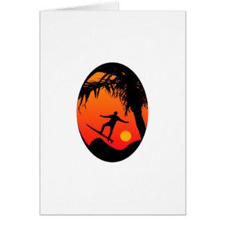 Man Surfing at Sunset Graphic Illustration Card