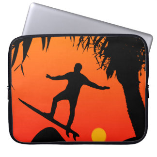 Man Surfing at Sunset Graphic Illustration Computer Sleeves