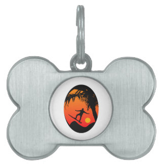 Man Surfing at Sunset Graphic Illustration Pet ID Tags