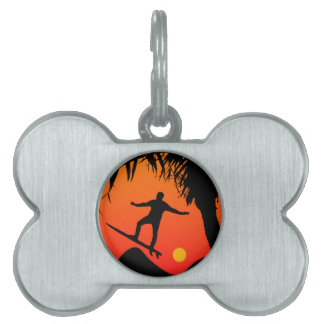 Man Surfing at Sunset Graphic Illustration Pet Tag