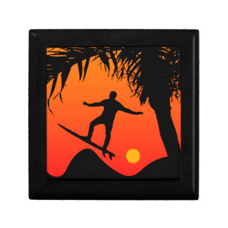 Man Surfing at Sunset Graphic Illustration Trinket Box