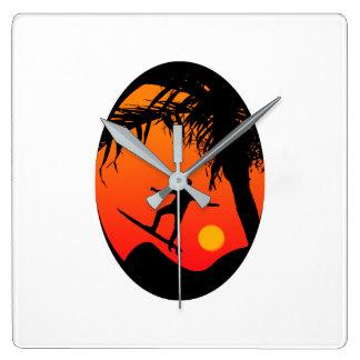 Man Surfing at Sunset Graphic Illustration Wallclocks