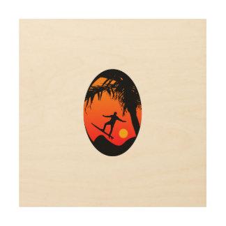 Man Surfing at Sunset Graphic Illustration Wood Prints