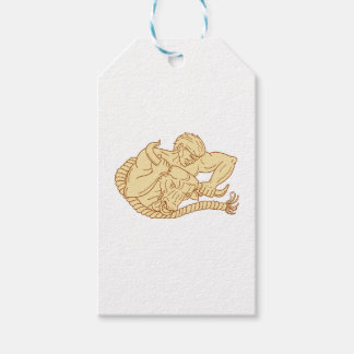 Man Taking Bull By Horns Drawing Gift Tags