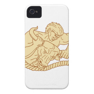 Man Taking Bull By Horns Drawing iPhone 4 Case-Mate Cases