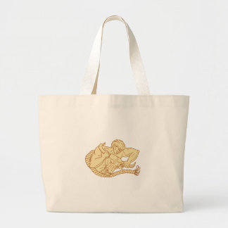 Man Taking Bull By Horns Drawing Large Tote Bag