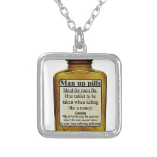 Man Up Pills Silver Plated Necklace