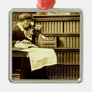 Man Viewing Stereoview Cards Vintage Silver-Colored Square Ornament