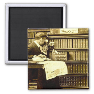 Man Viewing Stereoview Cards Vintage Square Magnet