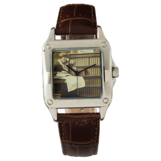 Man Viewing Stereoview Cards Vintage Watches