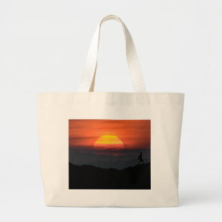 Man Walking at Mountains Landscape Illustration Large Tote Bag
