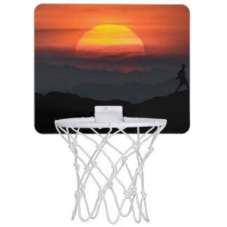 Man Walking at Mountains Landscape Illustration Mini Basketball Hoop